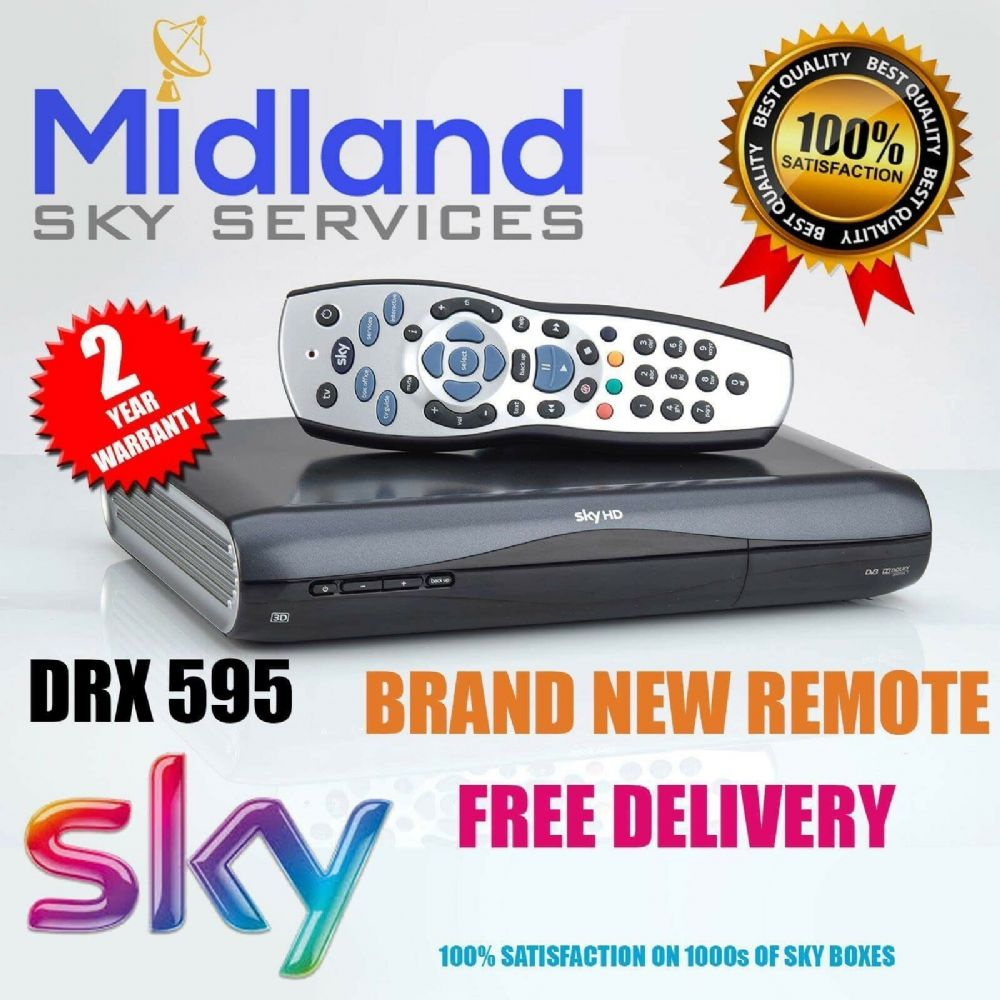 SKY HD BOX AMSTRAD DRX595 LATEST DESIGN MINI SLIMLINE BOX + REMOTE CONTROL